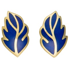 Tiffany & Co. Lapis Leaf Motif Earrings