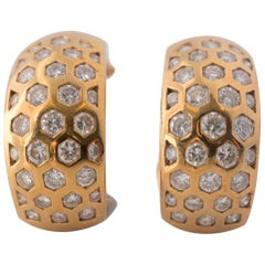 1 Carat Diamond and 18 Karat Yellow Gold Honeycomb Earrings