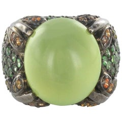 New 21.25 Carat Prehnite Sapphire Tsavorite Garnet Silver Cocktail Dome Ring