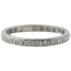 1920s 0.40 Carat Diamond and 14 Karat Gold Eternity Band Wedding Ring
