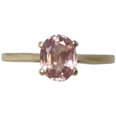 IGI Antwerp Certified Untreated Ceylon Pink Orange Sapphire Solitaire Gold Ring