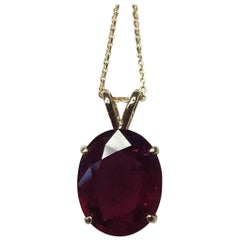 Big 5.04 Carat Pink Purple Rubellite Tourmaline Oval Cut Gold Solitaire Pendant