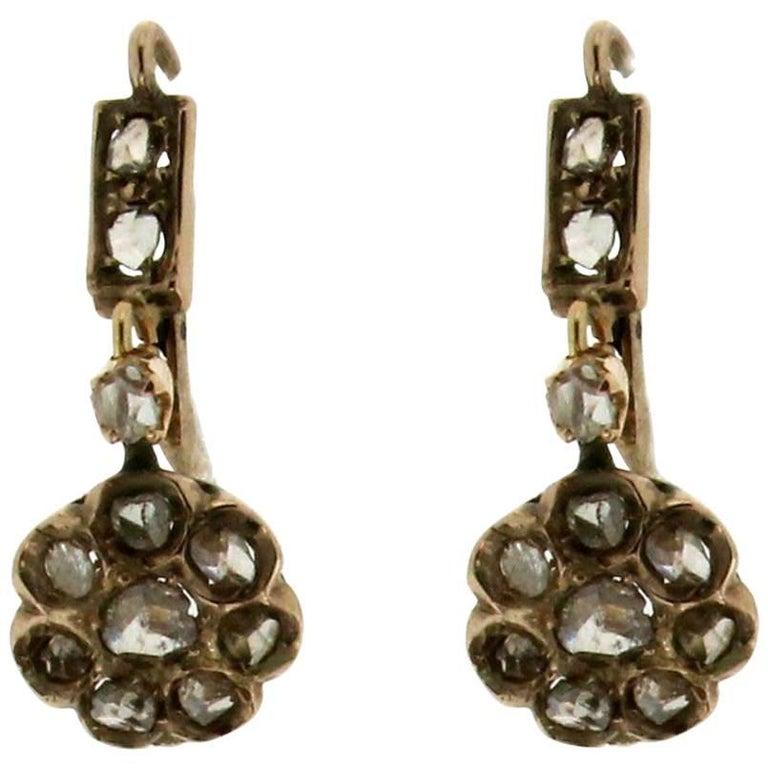 1800s Gold Rose Cut Diamonds Drop Earrings