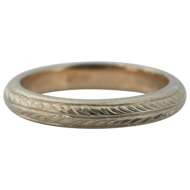 1920s Two-Tone 14 Karat Gold Wheat Pattern Wedding Band Ring