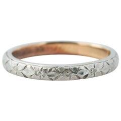 1914 Two-Tone 18 Karat Gold Floral Pattern Wedding Band Ring