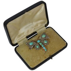 Victorian Rose Cut Diamond and Turquoise 15 Carat Gold Butterfly Brooch