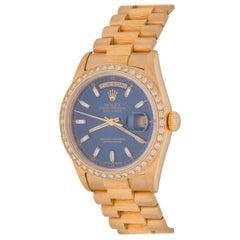 Rolex Yellow Gold Diamond President Day-Date Blue Dial Wristwatch Ref 18248