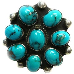 Navajo Native American Sterling and Turquoise Ring Signed by W Yellowhorse