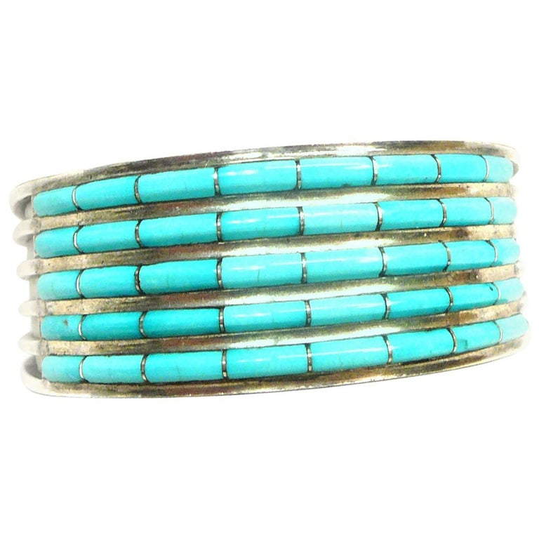 Zuni Native American Signed ALW Silver and Turquoise Cuff Bracelet