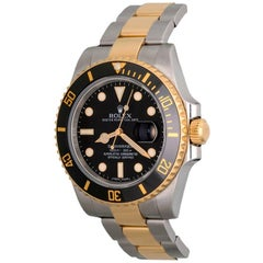 Rolex Yellow Gold Stainless Steel Submariner Ceramic Bezel Automatic Wristwatch