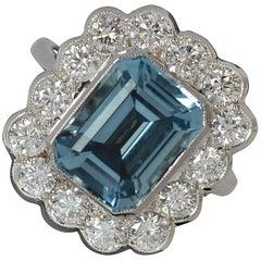 3.27 Carat Aquamarine and 1.30 Carat Diamond 18 Carat White Gold Cluster Ring