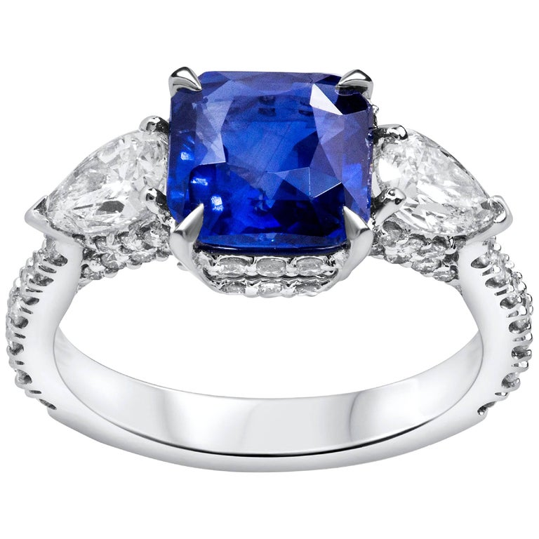 GIA Certified Natural Blue Sapphire Diamond Three-Stone Engagement Ring