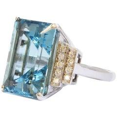 Aquamarine and Diamond Set Cocktail Ring