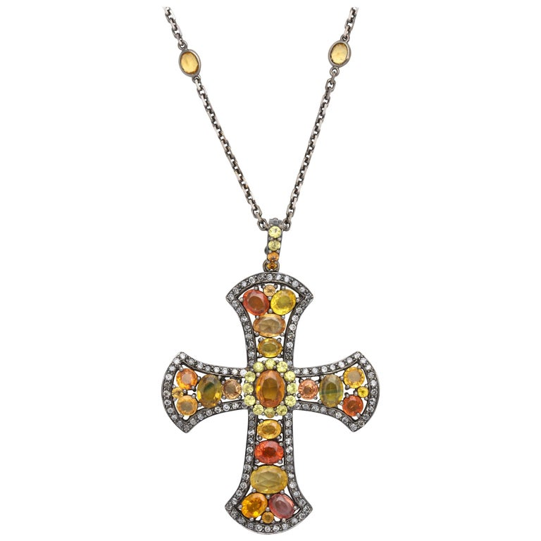 White Gold and Multi-Color Orange Sapphire Stylized Gothic Cross Pendant