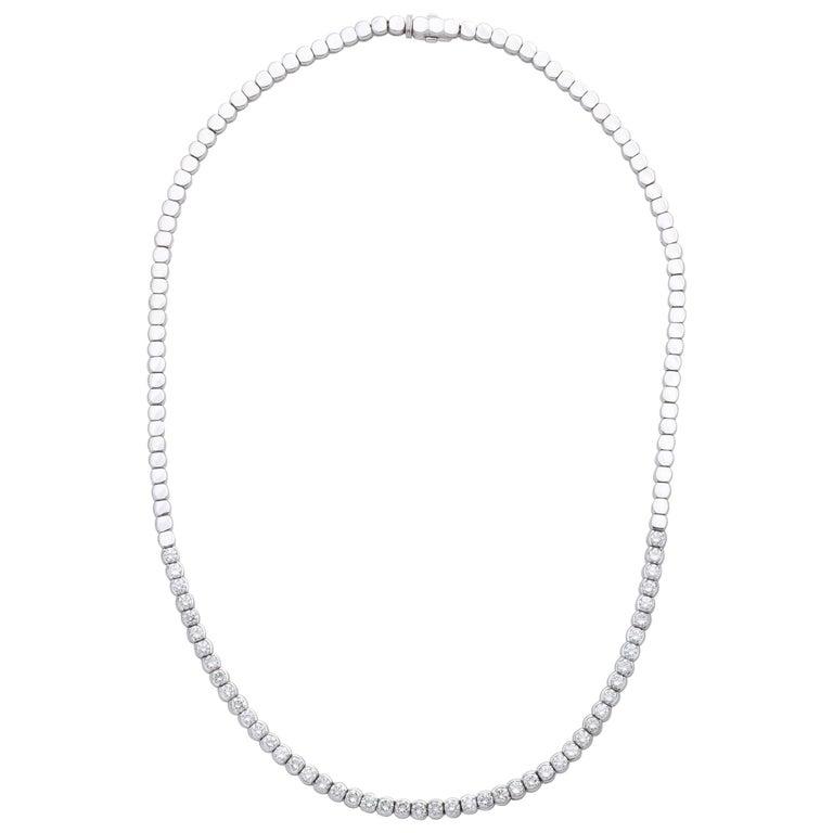 White Gold Diamond Riviere Necklace