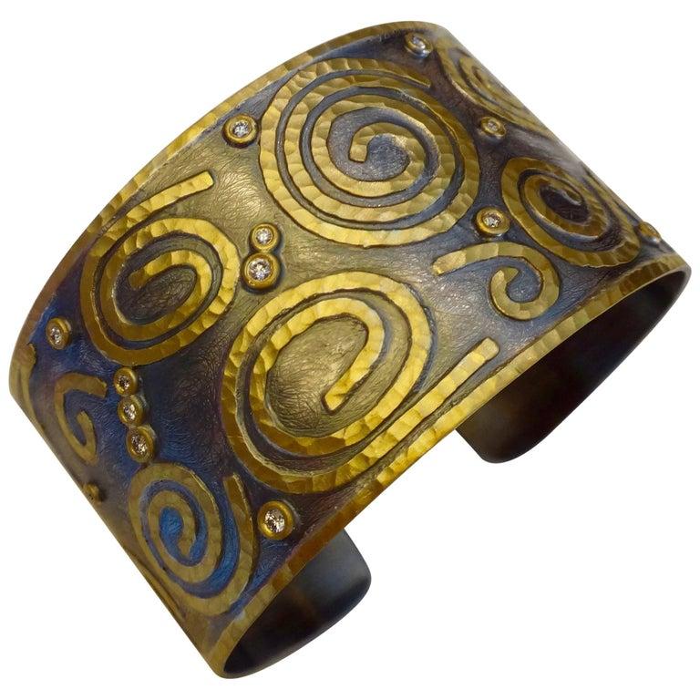 Michael Kneebone 24 Karat Gold Sterling Silver Diamond Cuff Bracelet