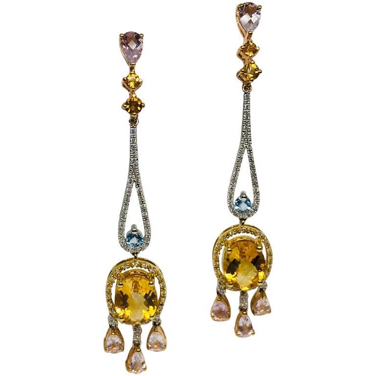 Effy Morganite Citrine Topaz Diamond Chandelier Earrings