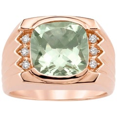 Cushion Green Amethyst Diamond Men's Ring