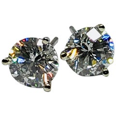 14 Karat, 18 Karat White Gold 3.12 Carat Round Diamond Studs SI3 D-E EGL