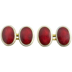 Red Enamel Cufflinks