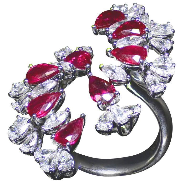 Burma Ruby Diamond Cocktail Ring
