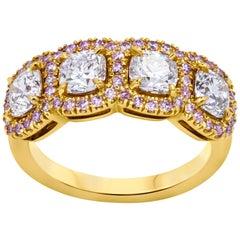 Cushion Cut Diamond Band in 18 Karat Rose Gold