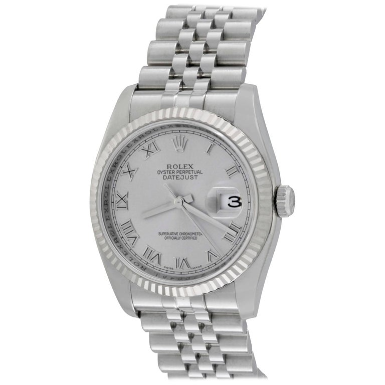 Rolex White Gold Stainless Steel Datejust Wristwatch Ref 116234
