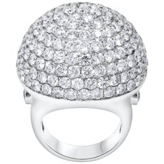 Cocktail Ring, Micro Pave Set Diamond Dome