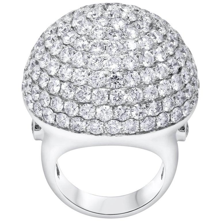Cocktail Ring, Micro Pave Set Diamond Dome