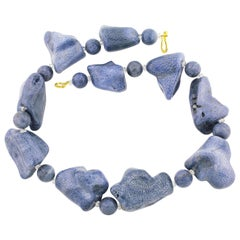 Blue Coral with Gold-Plated Clasp