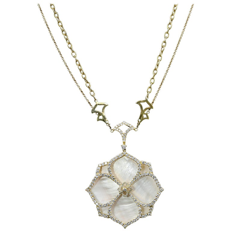 18 Karat Yellow Gold and Pink Mother-of-Pearl and 3.36 Carat Diamond Necklace