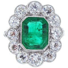Edwardian Emerald Diamond Platinum Ring