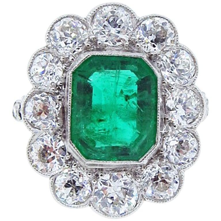Edwardian Emerald Diamond Platinum Ring