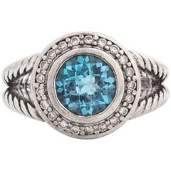David Yurman Blue Topaz, Diamonds and Sterling Silver Cerise Halo Ring