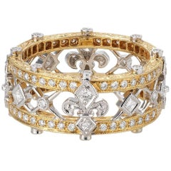 Beverly K Fleur De Lys Gold and Diamond Band