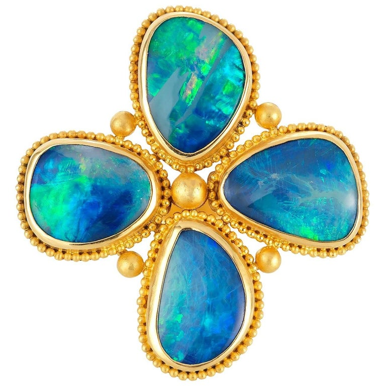 Carolyn Tyler Provence Opal and Granualted Gold Flower Ring