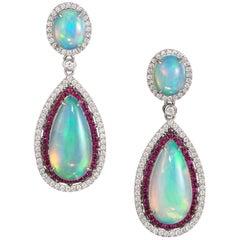 Dvani Gold Opal Diamond and Ruby Earrings