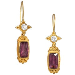 Kimarie White Sapphire and Pink Tourmaline and Gold Earrings