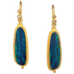 Kimarie Gold and Opal Doublet and Gold Earrings with Diamond