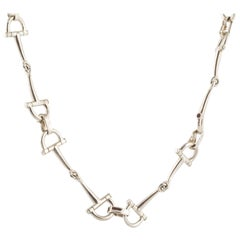Hermes Sterling Stirrup Necklace