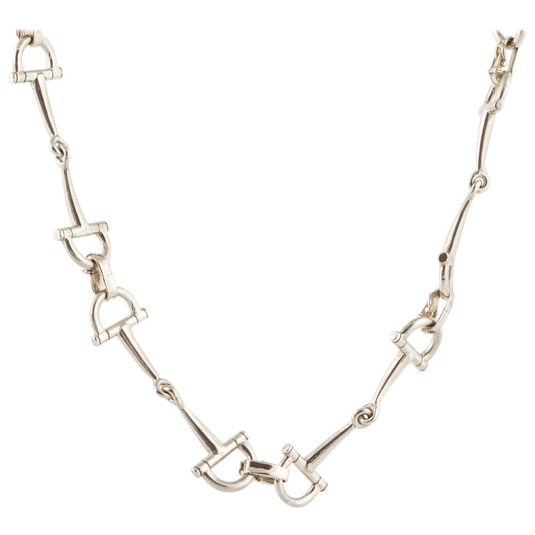 Hermes Sterling Stirrup Necklace