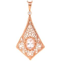 Oval Pink Morganite Diamond Rose Gold Pendant
