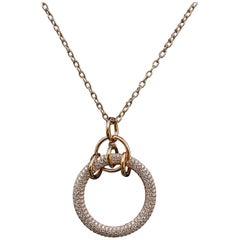 5.90 Carat Round Pave Set Diamond Pendent in 18 Karat Rose Gold