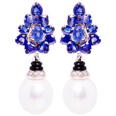 Ella Gafter Blue Sapphire South Sea Pearl Diamond Earrings Flower Design