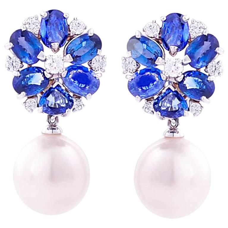 Ella Gafter Blue Sapphire South Sea Pearl and Diamond Flower Drop Earrings