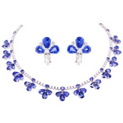 Ella Gafter Blue Sapphire and Diamond Flower Necklace and Earrings Set