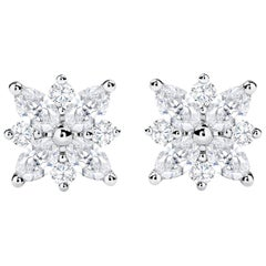 Diamond Starburst Cluster Stud Earrings