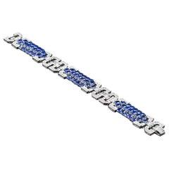 Art Deco 20.88 Carat Blue Ceylon Sapphire and 5.15 Carat VS Diamond Bracelet