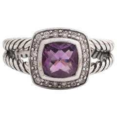 David Yurman Albion Amethyst and Diamond Ring in Sterling Silver