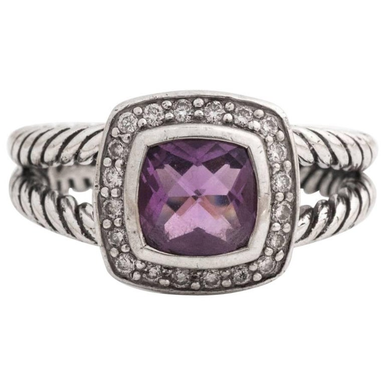 David Yurman Albion Amethyst and Diamond Ring in Sterling Silver